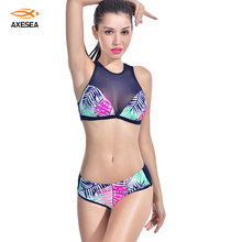 Transparent Patchwork Rash Guard Women Sexy Two Pieces Mid Waist Swimsuit Leaves Pattern Surf Suit Back Zipper Surf Wear(China)