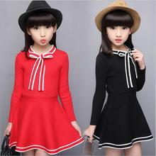 Spring Or Autumn Girls Dresses Full-Sleeved O-neck Collar Children Frocks Preppy Style Bowknot Ruffles Kids Clothes jurk T149