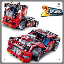 With Gift+ Race Car Truck 608Bricks Assemble Toy Interlocking Construction Brinquedos For Kids+Factory Price