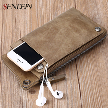 Sendefn Genuine Leather Men Wallets Ultrathin Long Slim Wallet Men Card Holder Leather Wallet Coin Pocket Purse Men Money Bag