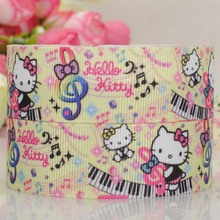 "free shipping 50 yards 1 "" light yellow Hello kitty pattern print grosgrain tape cartoon ribbon"