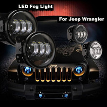 "2X 4"" Led Fog Lights For Jeep Wrangler JK Led Fog Lamps Projector Headlight For Jeep Wrangler Dodge Chrysler Front Bumper Lights"
