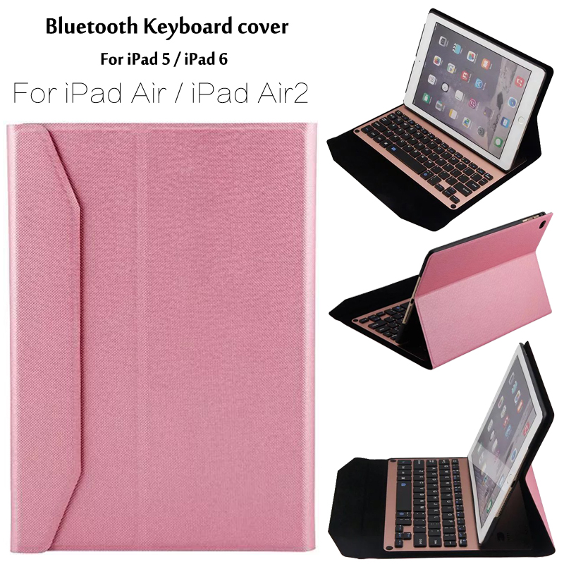 New 2017 For iPad 5 / 6 / 9.7 Ultra thin Wireless Bluetooth Aluminum Keyboard Case cover For iPad Air / Air 2 / Pro 9.7+ Gift<br>