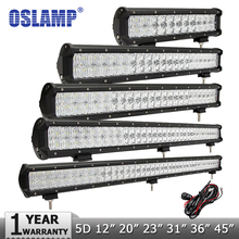 "Oslamp 5D 12"" 20"" 23"" 31"" 36"" 45"" LED Light Bar Offroad Combo Beam Led Bar Work Light Driving Lamp 12v 24v Truck SUV 4X4 4WD ATV"