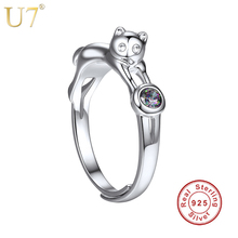 U7 925 Sterling Silver Cat Rings for Women Girls Gift Her Finger Ring Adjustable Cute Animal 100% Sterling Silver Jewelry SC09(China)