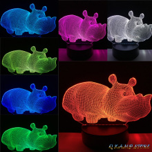 2017 Cute Baby Animal Hippo 3D USB LED Lamp 7 Colors Changing Gradient Table Night Lights Kawaii room Decorative lighting Props