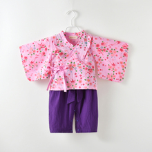 Baby girl clothes japanese kimono purple print  romper bow knot strap pants+ coat 2pcs set party festival costume clothing