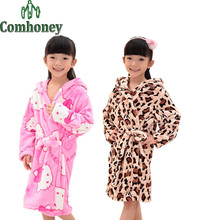 Children's Bathrobes for Kids Girls Leopard Hello Kitty Flannel Fleece Baby Bathrobe Winter Autumn Boys Sleepwear Child Robe