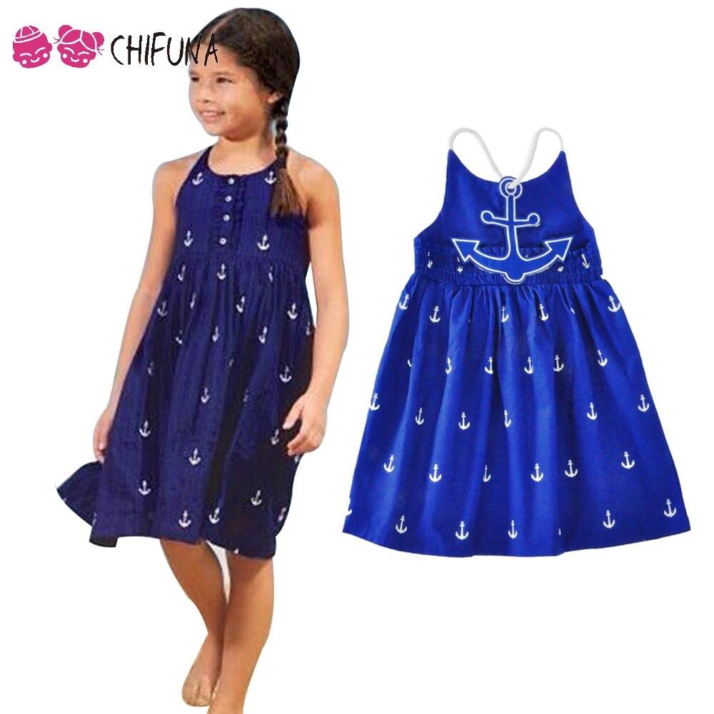 chifuna Childrens Princess Dress Fashion Summer Apparel Anchor Pattern Cotton Dress 2017 New Arrival 3-10Yrs Kids Dresses<br><br>Aliexpress