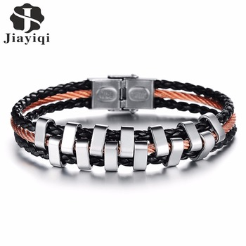 Jiayiqi Vintage Stainless Steel Men Bracelet Multilayer Braided Black Leather Rope Chain Charm Bracelets Silver Color Jewelry