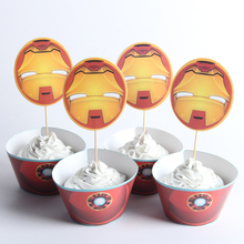 24pcs/lot Big Iron Man Paper Cupcake Wrappers Toppers For Kids Party Birthday Decoration Cake Cups(12 wraps+12 topper)(China)