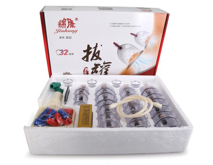 32 Pieces Cans cups chinese vacuum cupping kit pull out a vacuum apparatus therapy relax massagers curve suction pumps<br>