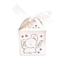 50pcs Hollow Out Fashion Elephant Pattern Candy Boxes Gift Bags Wedding Favors & Ribbons (White)