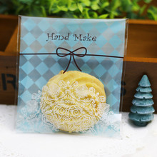 100pcs 10x10+3cm Blue Hand Make  Lace Bakery Cookie Candy Sweet Biscuit Gift Soap Favor Cello Self-Adhesive OPP Plastic Bag