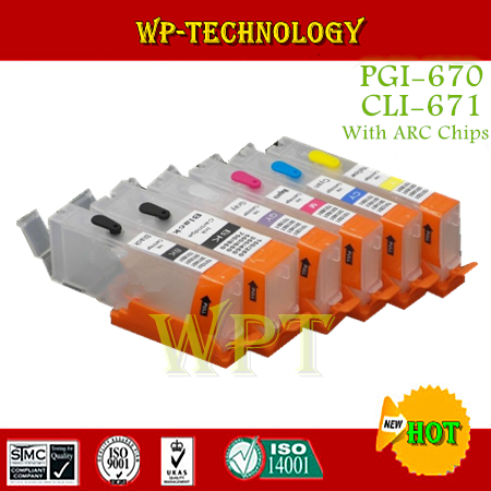 6PK Empty Refillable Cartridge suit for PGI670 CLI671 ,suit for Canon PIXMA MG5760 MG5765 MG5766 . With ARC Chips<br><br>Aliexpress