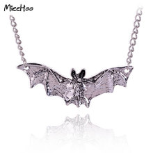 Mieehoo New Arrival Gothic Halloween Jewelry Necklace Bat Pendants Antique Silver Color Vampire Accessories For Women Drop Ship(China)