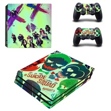 SUICIDE SQUAD Decal PS4 Pro Skin Stickers for Sony PlayStation 4 Pro Console and 2 Controllers Decorative Skins