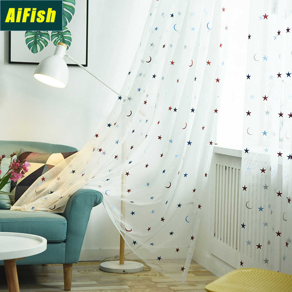 Modern Colorful Embroidered Stars Moons Sheer Curtains for Kids Nursery Room White Window Voile Curtain Tulle for Balcony TM0313