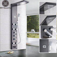 Waterfall 6pc Massage Jets Rain Shower Column Thermostatic Mixer Shower Faucet Tower W/Hand Shower Tub Spout Black Shower Panel(China)
