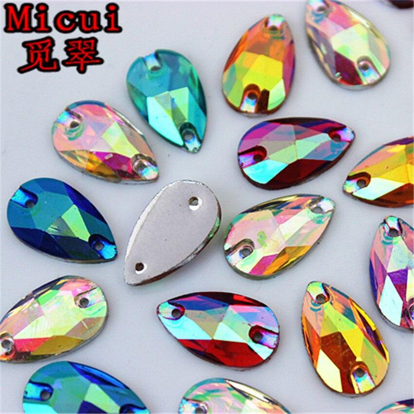 13*18 mm de costura lágrima Flatback pedrería Coser En Cristales Varios Colores