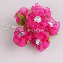 3.5CM Head,72PCS Satin Ribbon Fake Roses With Crystal Small Bouquet,Hair Ornaments Flower, DIY Wrist Corsage Wedding Decoration