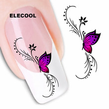 ELECOOL 10 styles Mixed Flower Nail Art Stickers Decals Colorful Full Tips Designed Fingernail Flower Tips Decoration(China)