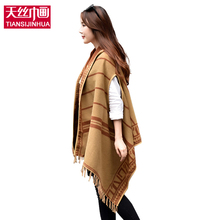 2017 Winter Cashmere Women's Hooded Poncho with Hat Plaid Scarves Cardigans Blanket Cape Shawl Poncho Tasssl Casacos Femininos(China)