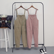 2017 New Fashion Women Casual Cute Vintage Corduroy Overalls Female Trousers Jumpsuits Sleeveless Backless Loose Solid Paysuits