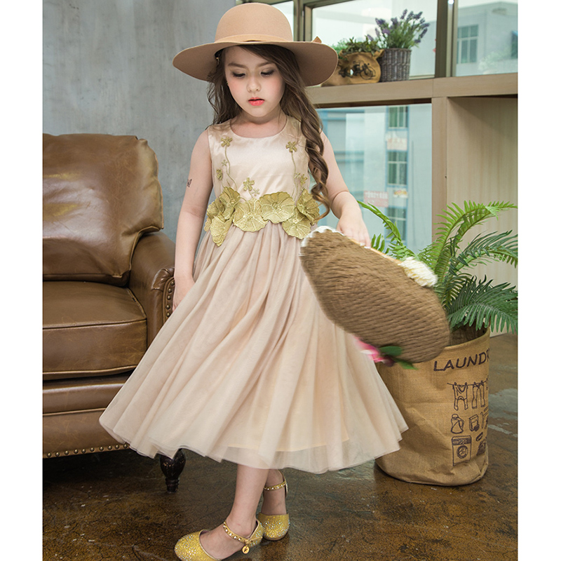 2017 summer children clothing embroidery mesh girls lace dress for 2-7age girls dress for Seaside holiday girls clothes<br>