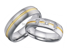 2 pieces bicolor western European style mens and womens wedding bands engagement rings sets(China)