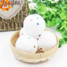 6PCS White Christmas Balls Snowballs Star Sequins Ornaments Home Decor Xmas Tree Ornament Hanging Christmas Party Decorations