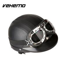 Vehemo German Style Motorcycle Black Half Helmet + Safety Goggles For Biker Scooter(China)