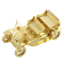 3D Metal Model Puzzles 1908 FORD MODEL T Golden Chinese Metal Earth Brass Creative Gifts