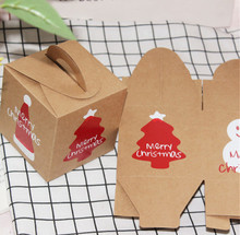 100pcs Retro kraft paper, Christmas cartoon, apple packaging, portable box, candy gift box, West Point box(China)