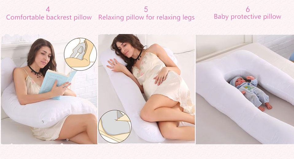 Sleeping Support Pillow For Pregnant Women Body 100% Cotton Pillowcase U Shape Maternity Pillows Pregnancy Side Sleepers Bedding(13)