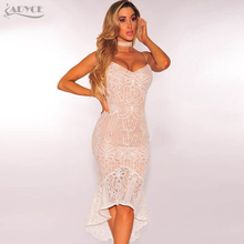 Adyce 2017 Chic Women Summer Dress Sexy Apricot V Neck Lace Patchwork Mermaid Bandage Dress Vestidos Celebrity Party Dress