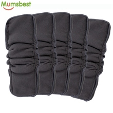 [Mumsbest] Wholesale 5PCS Reusable Bamboo Charcoal Insert Double Gussets No Leaking Inserts Baby Cloth Diaper Nappy Liners(China)