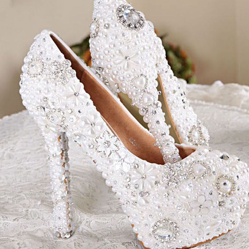 Handmade White Color Wedding Dress Shoes Bridal Shoes Gorgeous Super High Heel Shoes Imitation Pearl Rhinestone Shoes<br><br>Aliexpress