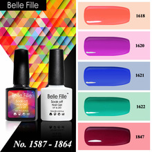 Belle Fille 10ml Decoration Nails Gel Lacquer Hybrid Pink Blue Green Wine Nail Art Design Gelpolish Nail Polish Semi Permanent(China)