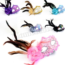 Hot Selling Women's Venice Dance Party Rose Princess Masks Side feathers Mask Halloween Performance Party Masquerade Mask HW219