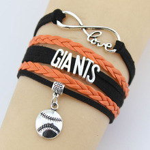 Drop Shipping Infinity Love Giants Baseball Bracelet Handmade Sports Team Baseball Team Bracelet Custom Any Themes And Colors