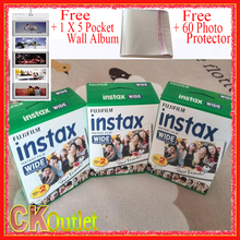 60 Sheets Fujifilm Instax Wide VALID UNTIL 2019-2 +Free 1 Wall Album & 60 Photo Protector For Polaroid Instax Camera 300 200 210