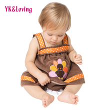 Newborn Baby Girl Thanksgiving Infant Dresses Baby Outfits Tutu Dress Children Clothes Sleeveless Infant Clothing Clothing A