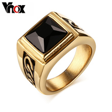Vnox Black Stone Wedding Rings for Engagement Party Jewelry Stainless Steel Punk Rings for Men/Male