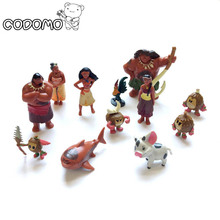 12pcs/lot Moana princess boneca action figure toys set 2017 New Moana dolls Pua Maui Heihei Oyuncak birthday party supply decor
