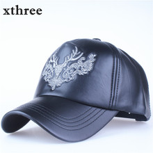 Xthree faux leather baseball cap embroidery deer snapback hat hip hop casquette bone men hats for women(China)