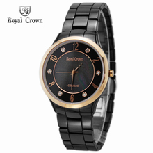 Luxury Ceramic Jewelry Men's Women's Watch Fine Fashion Couple's Hours Mother-of-pearl Bracelet Girl's Gift Royal Crown Box