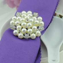 Luxury Napkin Rings Crystal Pearls Flowers Wedding Napkin Rings Hotel / Wedding Supplies Table Decoration Accessories