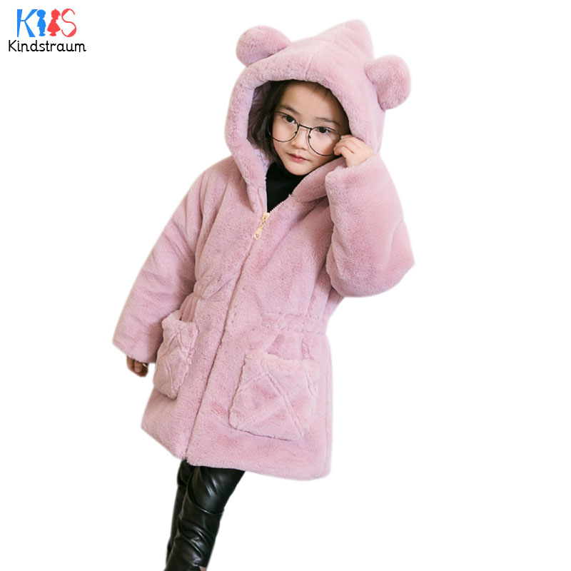 Kindstraum 2017 Children Solid Faux Skin Coats Top Quality Kids Zip Hooded Warm Clothes Winter Pockets Jackets for Girls,RC1070Одежда и ак�е��уары<br><br><br>Aliexpress