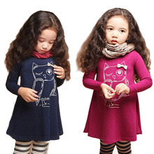 girls dress full sleeve owl kids tops for girls cotton dresses